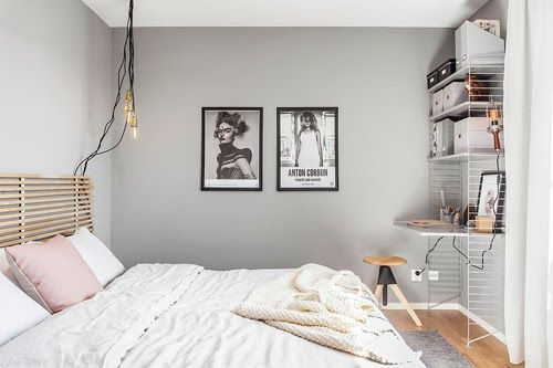 Scandinavische Slaapkamer Pasteltinten : Bedroom in grey and pastel slaapkamer grijs en boxsprings