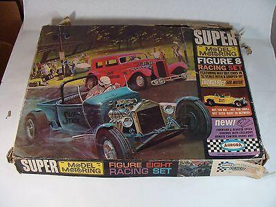 rare vint 1963 super 8 aurora model motoring slot car race set w 2