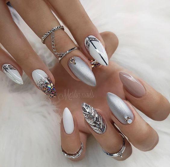 beautiful silver nail design