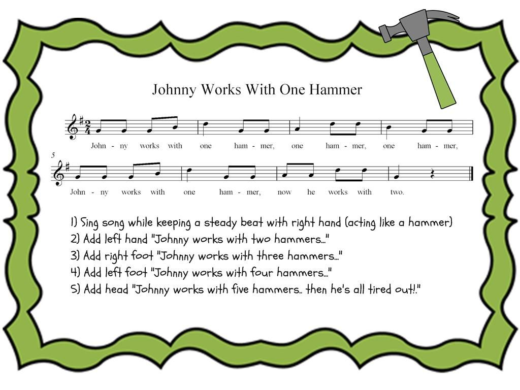 Preparing Steady Beat Johnny Works With One Hammer