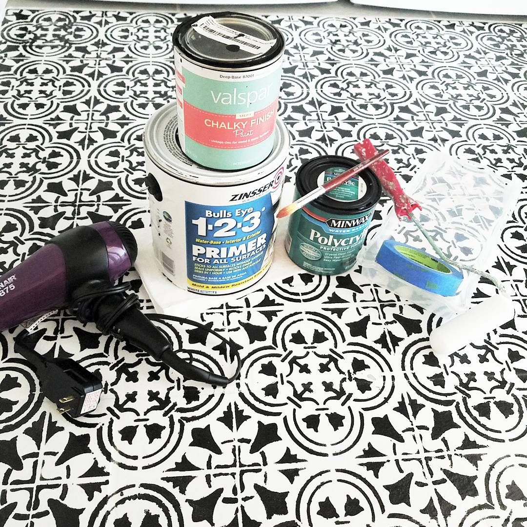 The materials needed to stencil and paint a laundry room floor using the Augusta Tile Stencil from Cutting Edge Stencils. http://www.cuttingedgestencils.com/augusta-tile-stencil-design-patchwork-tiles-stencils.html