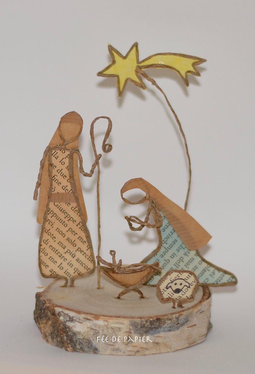 F e de papier merry christmas po sie du papier - Idee decoration creche noel ...