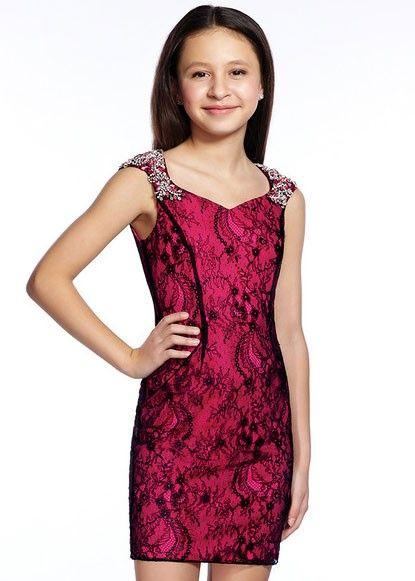 8b0e2eafe39 Lexie by Mon Cheri TW21540 Fuchsia Girls Cap Sleeve Lace Dress ...