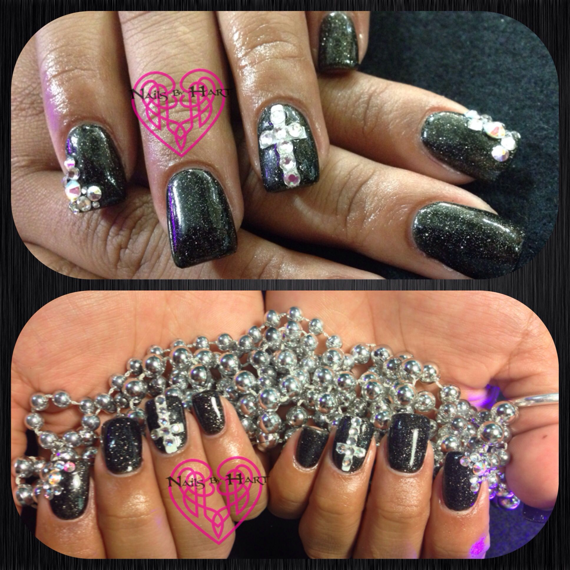 Glitter Gem Nails Sparkly Halloween Nail Art 💜Nails by ...