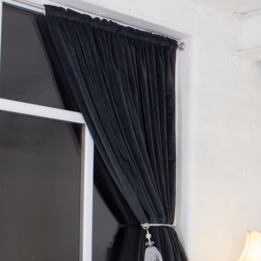 Dark Grey Heavy Weight Pencil Pleat Velvet Curtains Rope Tie
