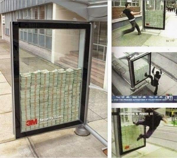 На совершенно обычной городской автобусной останке за стекло положили много ни мало несколько миллионов американских денег. И так, на фото: автобусная остановка в Канаде. Реклама пуленепробиваемых стекол. За стеклом — 3 миллиона долларов.