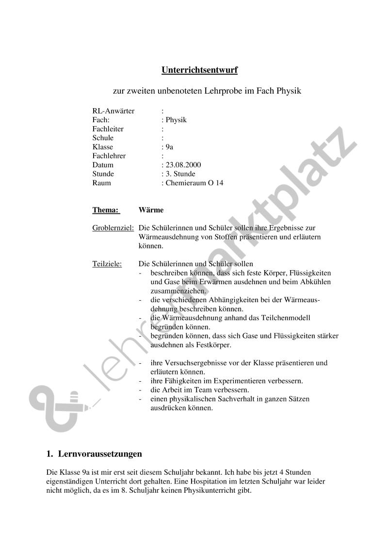 Unterrichtsentwurf: Wärmelehre   Physik Unterrichtsmaterialien ...