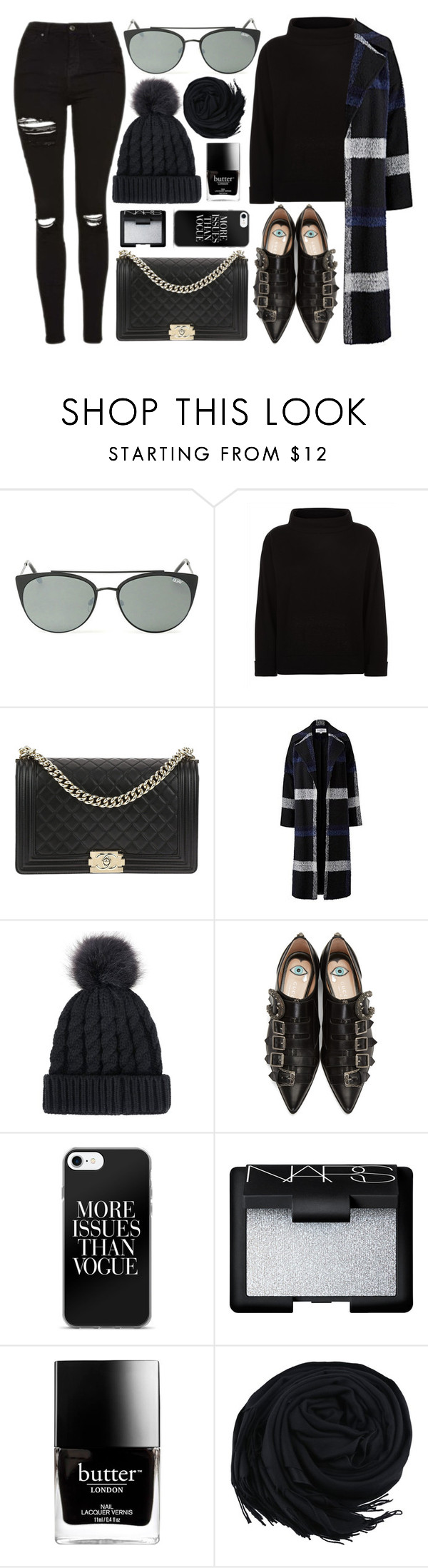 """""""Casual Day"""" by smartbuyglasses-uk ❤ liked on Polyvore featuring Quay, Jaeger, Chanel, Helene Berman, Gucci, NARS Cosmetics, Butter London, casual, black and everydayoutfit"""