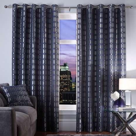 5A Fifth Avenue Midnight Blue Lexington Geo Eyelet Curtains   Dunelm ...