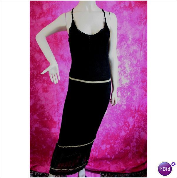 Karen Millen Black Gold Knit Evening Dress Size 12 14 New Tag on eBid United Kingdom
