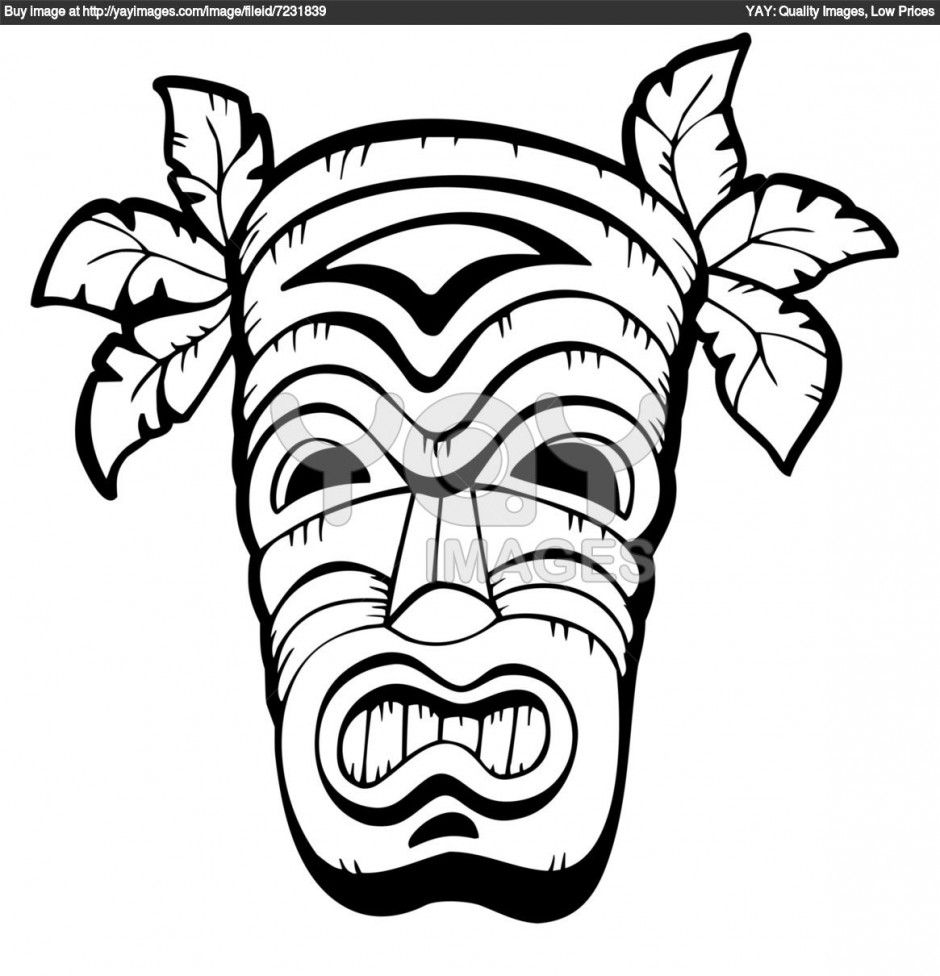 Free Tiki Colouring Pages Patterns Pinterest Hawaiian Luau