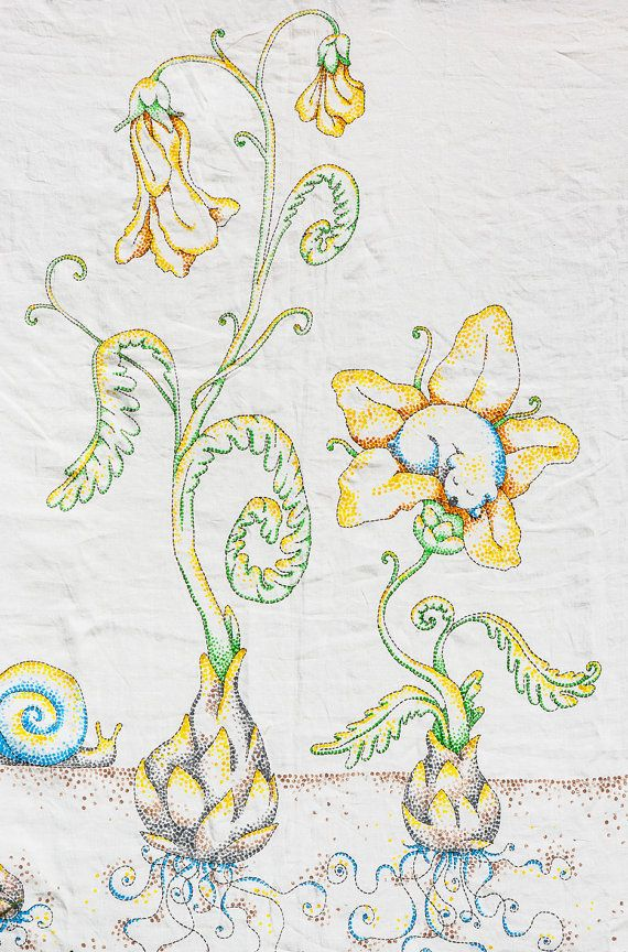 Hand Embroidery and Hand Painted Duvet Cover. Ready To Ship