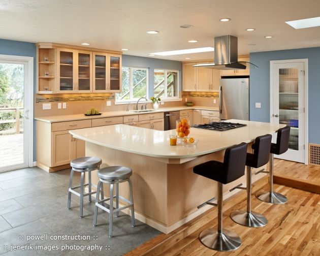 Natural maple cabinets with caeserstone desert limestone for Bleached maple kitchen cabinets
