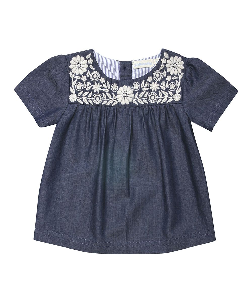 Chambray Floral Embroidered Top Infant Toddler Amp Girls