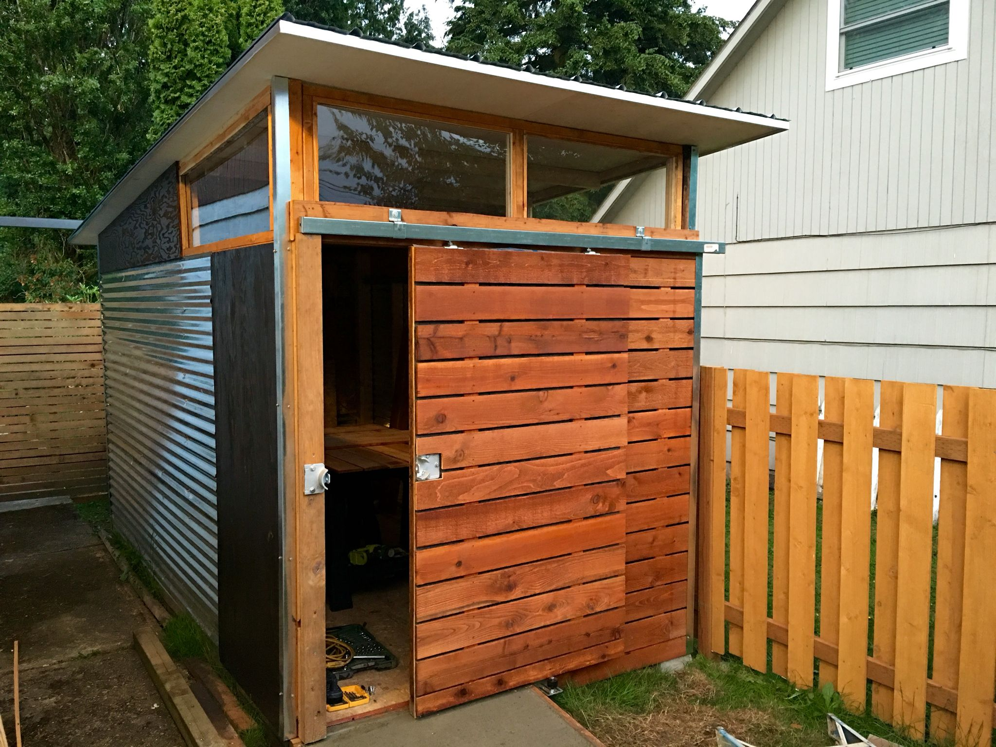 Md100 modern shed tiny home took 4 weekends to complete for Modern shed roof
