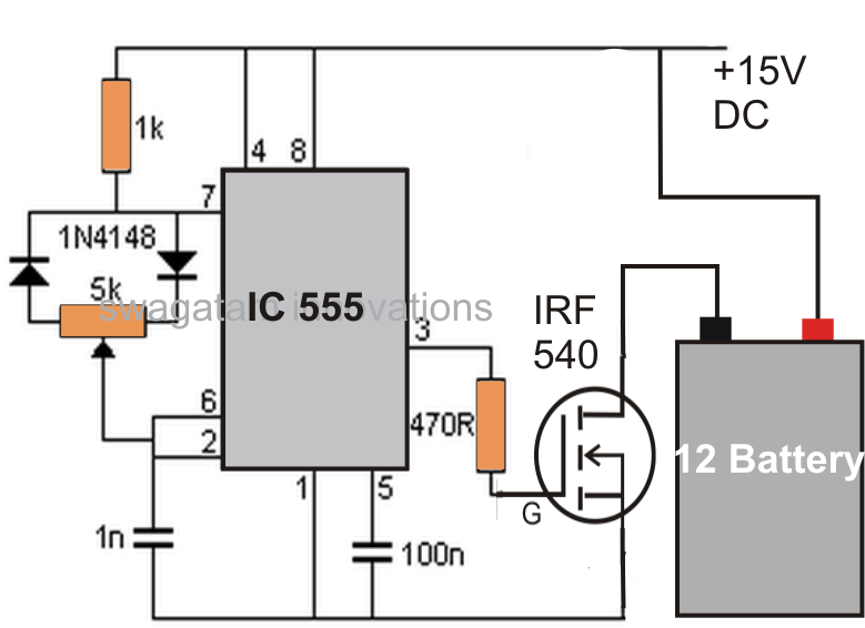 Battery Desulfator Circuit by hitman -- Homemade battery desulfator circuit constructed around an IC 555, diodes, resistors, and a 15V DC power supply. http://www.homemadetools.net/homemade-battery-desulfator-circuit