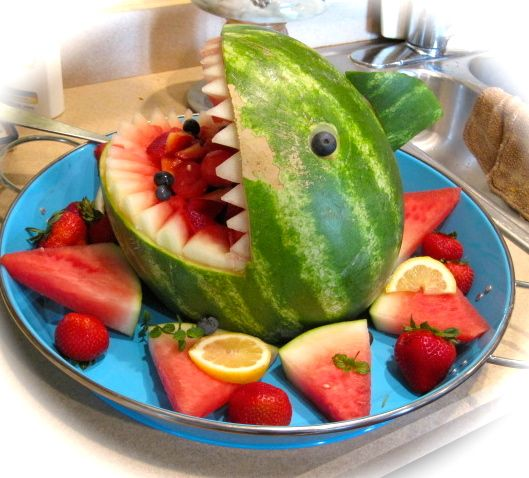 watermelon shark fruit salad with blueberry eyes- first magazine