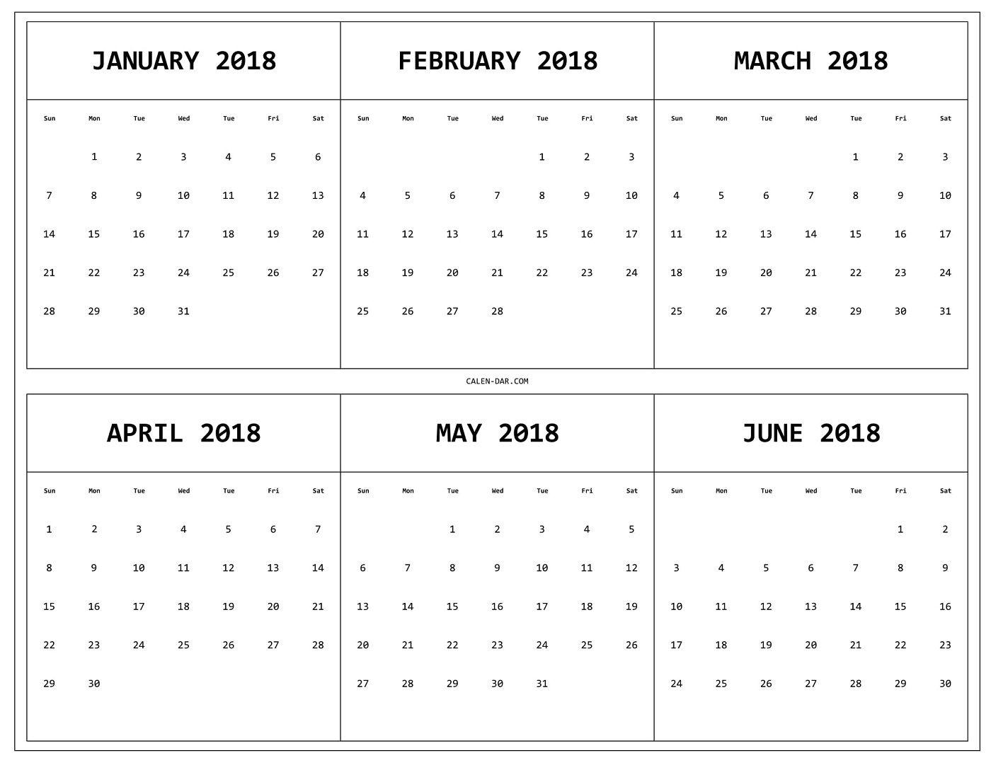 3 month calendar printable 2018