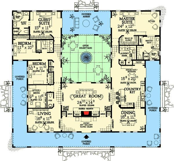 Ted Knight Tedknightkiy3xs Pool House Plans Mediterranean House Plans Courtyard House Plans