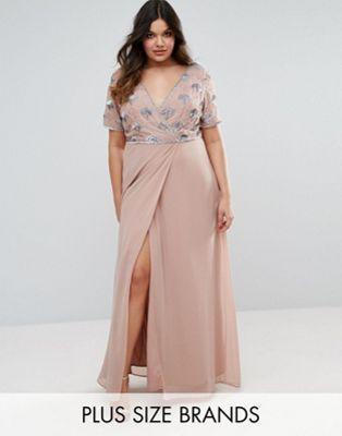 86316dbf8bfeb Lovedrobe Luxe Embellished Bodice Wrap Maxi Dress