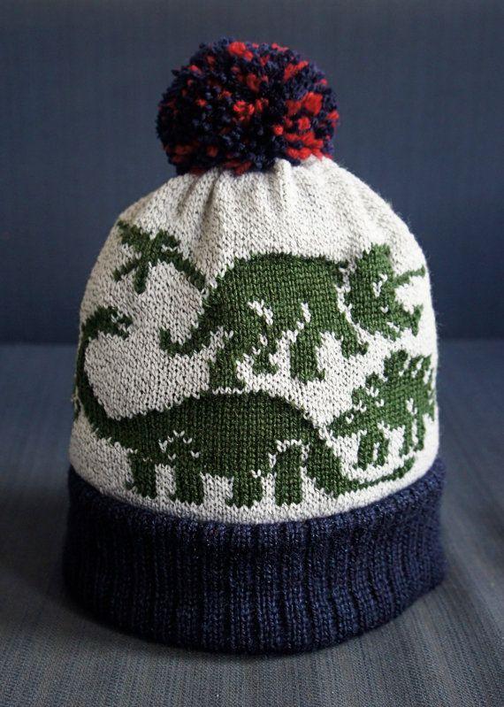 Dinosaur Bobble Hat Colorwork Knitting Patterns Kids Knitting Patterns Colorwork Knitting
