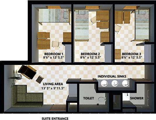 Three Bedroom Suite The New Freshman Residence Hall Ut