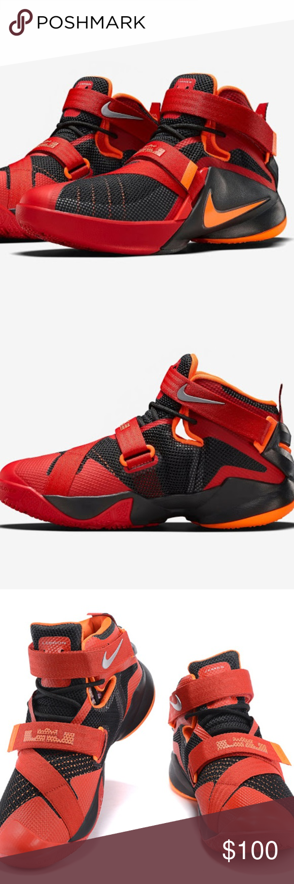 138fed23ab24 ... uk nike lebron soldier 9 black red orange preloved nike lebron soldier 9  black red orange low cost ...
