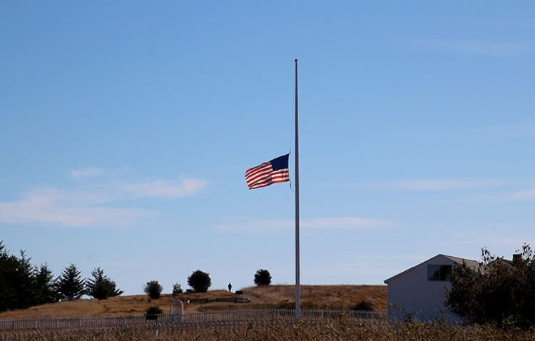 The American Flag Flies At Half Mast On September 11 At American Camp San Juan Islands San Juan Island