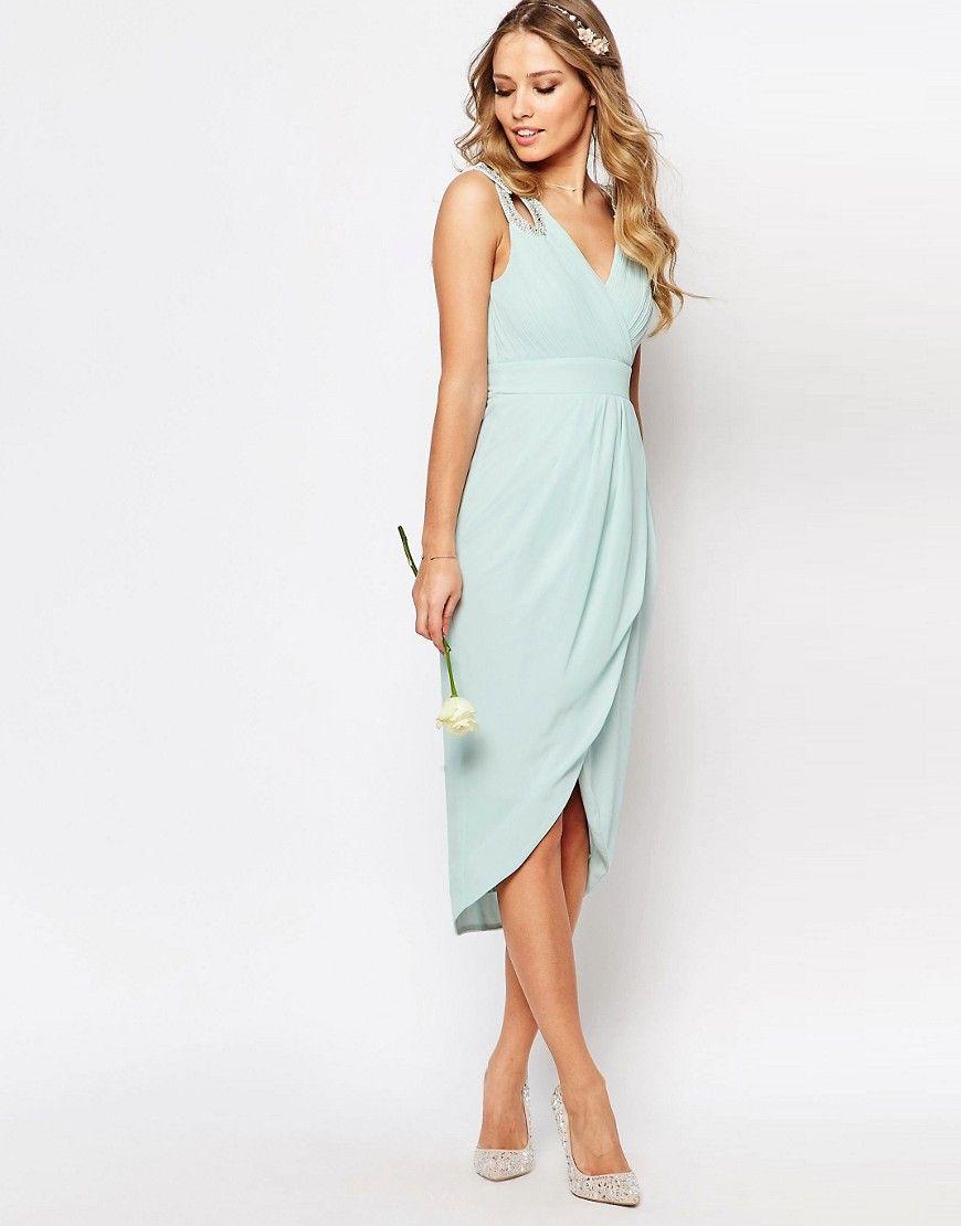 1664a144ec3f23 Image 4 of TFNC WEDDING Wrap Embellished Midi Dress