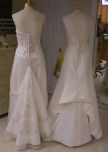 Can I see real ONE POINT bustles Diy wedding dress