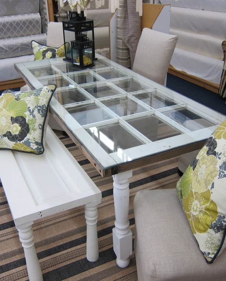 55 id es d co jardin r utiliser les vieilles portes et fen tres table basse diy la terrasse. Black Bedroom Furniture Sets. Home Design Ideas