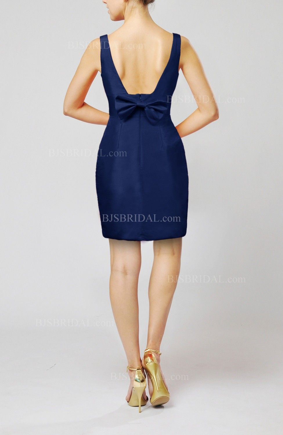 Dark Blue Bridesmaid Dress - Plain Scoop Taffeta Mini Short Bow ...