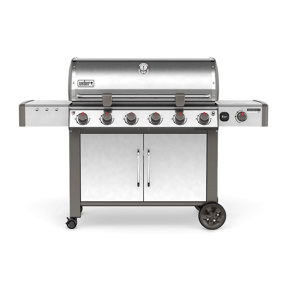 Weber Genesis Ii Lx S 640 6 Burner Natural Gas Grill In Stainless Steel Silver With Built In Thermometer And Grill Light Gas Bbq Gas Grill Propane Gas Grill