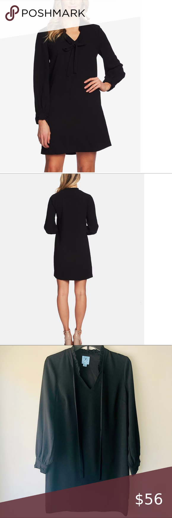 Cece Front Tie Black Dress Size Small A Worthy Business Investment Cece S Structured Dress Is Presentation Ready Per Black Dress Cece Dresses Structured Dress [ 1740 x 580 Pixel ]
