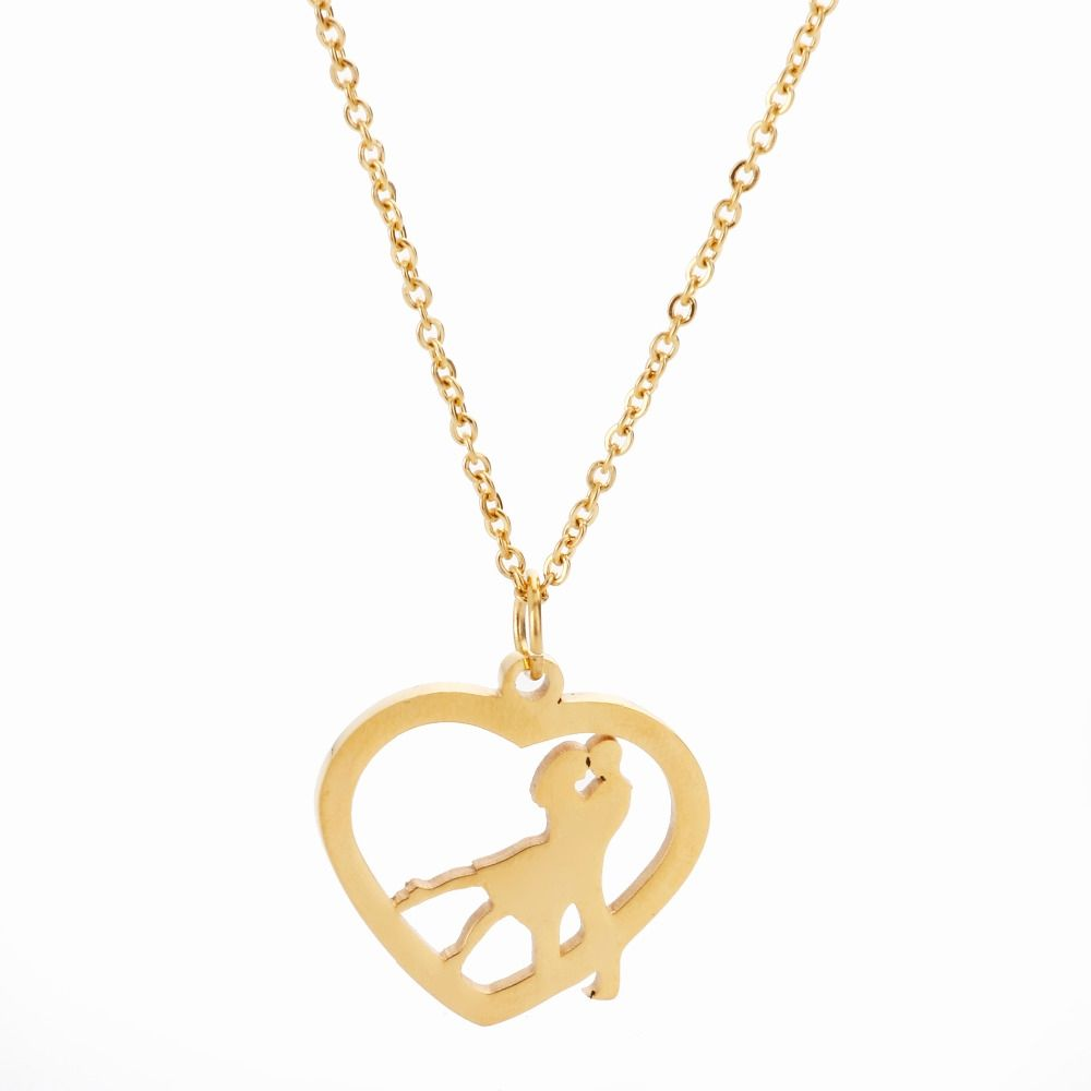 stainless steel heart pendants necklaces goldcolor link chain