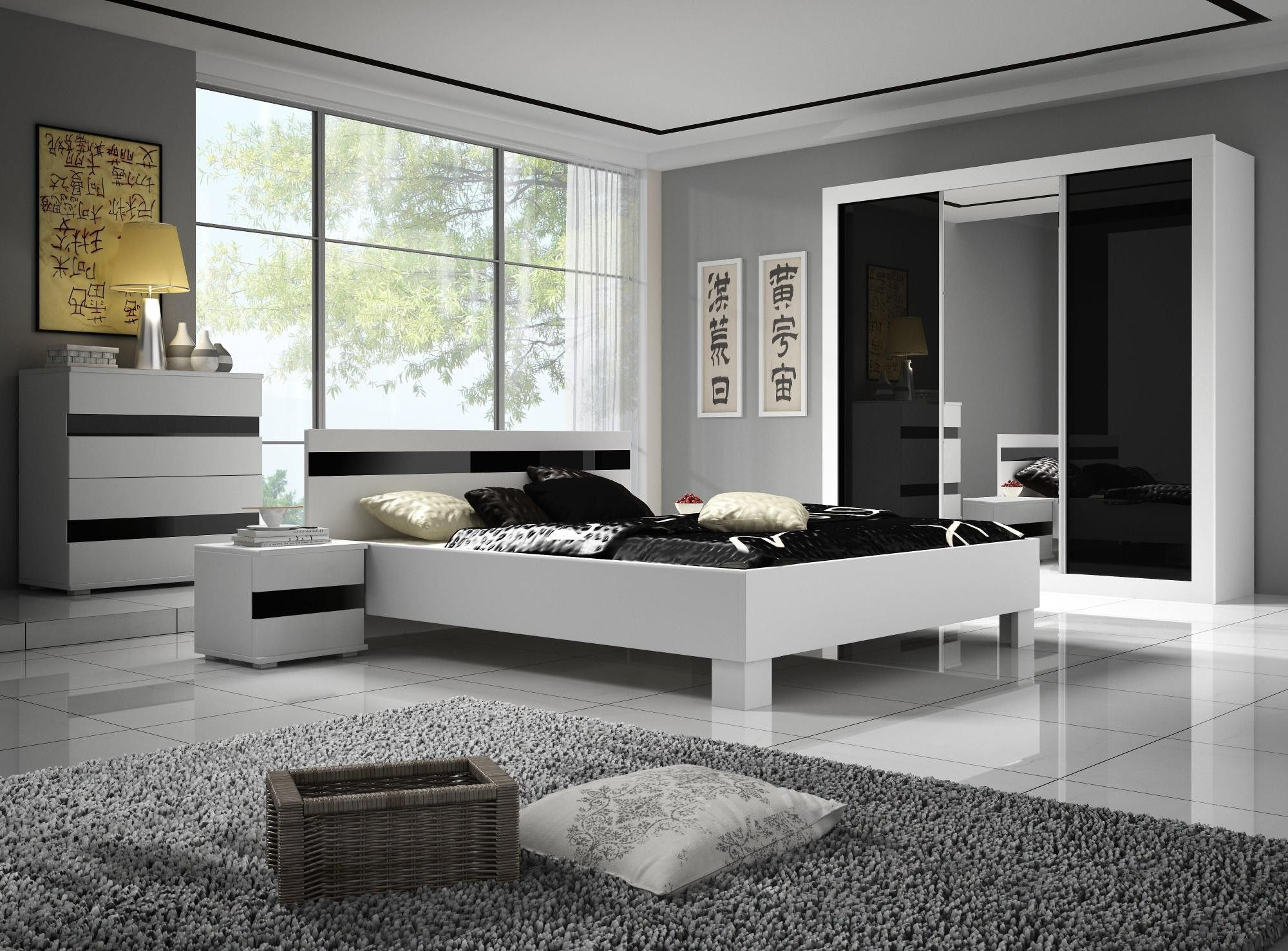 Chambre Adulte Design Noire Et Blanche Thalis