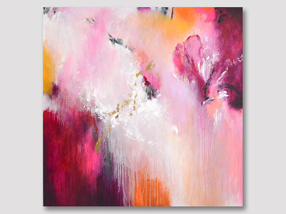 Original large XL abstract painting, work of fine art, colorful artwork, painting on stretched canvas, bordeaux white pink with gold leaves