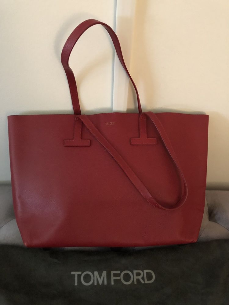 Tom Ford Red Saffiano Large Leather T Tote Bag Fashion Clothing