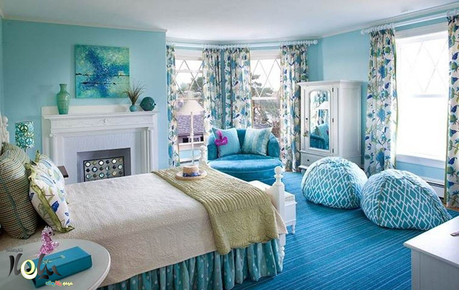 Bedroom , Nice Bedrooms For Girls With Trendy And Catchy Look : Stunning  Blue Bedroom For Girls