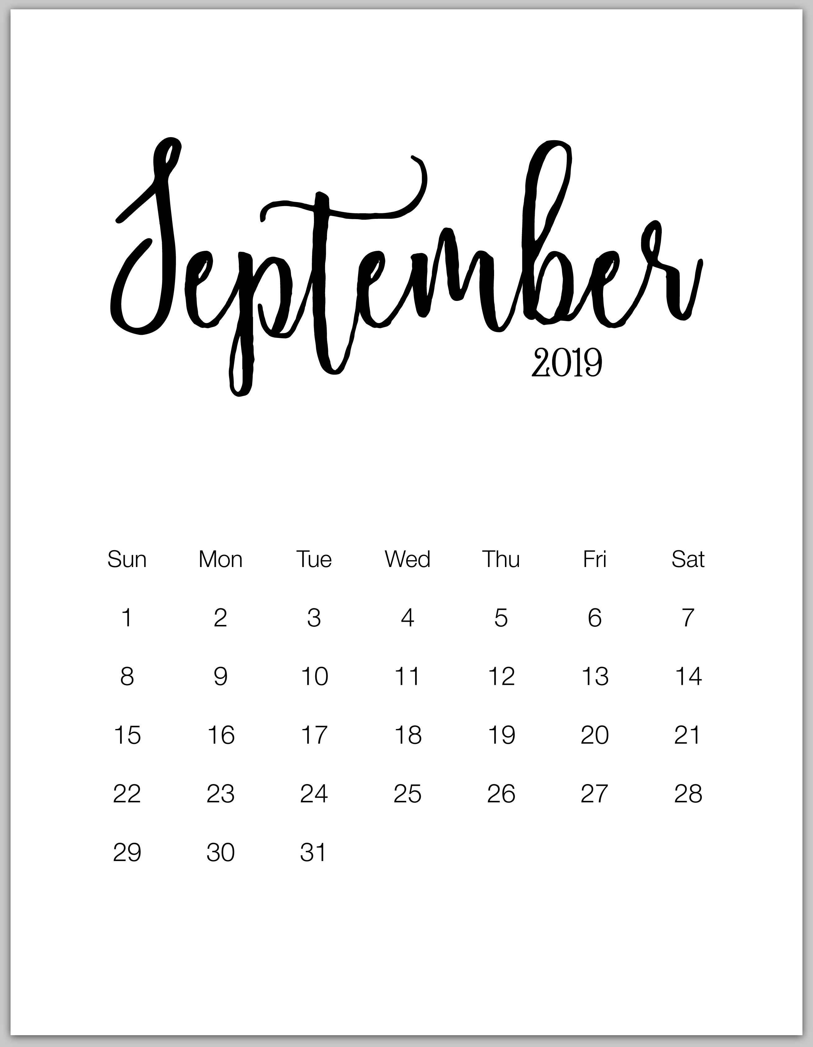 1 September 2019 To 31 December 2019 Calendar 2019 Minimalist Printable Calendar From January To December
