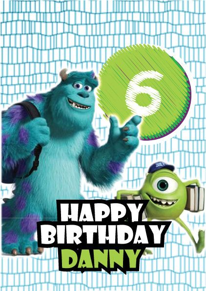 Monsters Inc Mike Sully Personalised Kids Birthday Card A5