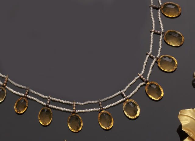 A late 19th century seed pearl and citrine fringe necklace