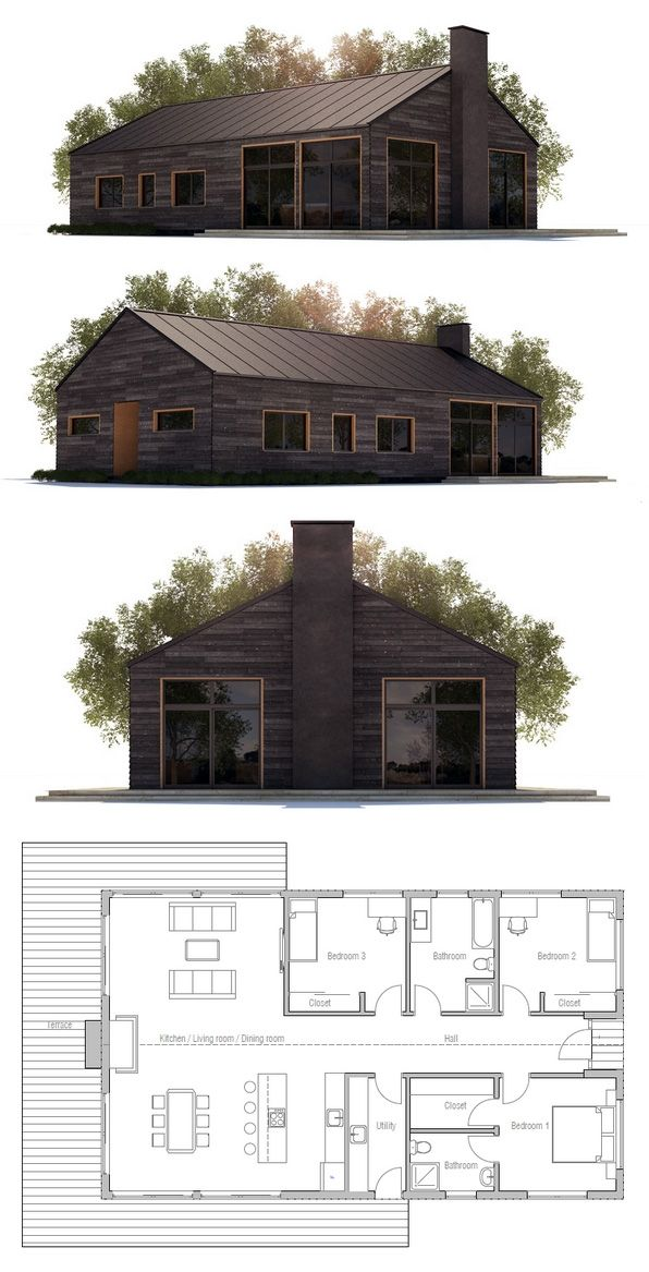 This Would Be Cheap To Build.. I Would Love It With White Batten Board  Siding With Black Windows.. | Small Homes | Pinterest | Farmhouse House  Plans, ... Design