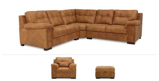 Magnus Clearance 3 Piece Corner Sofa Chair Stool Saddle Dfs