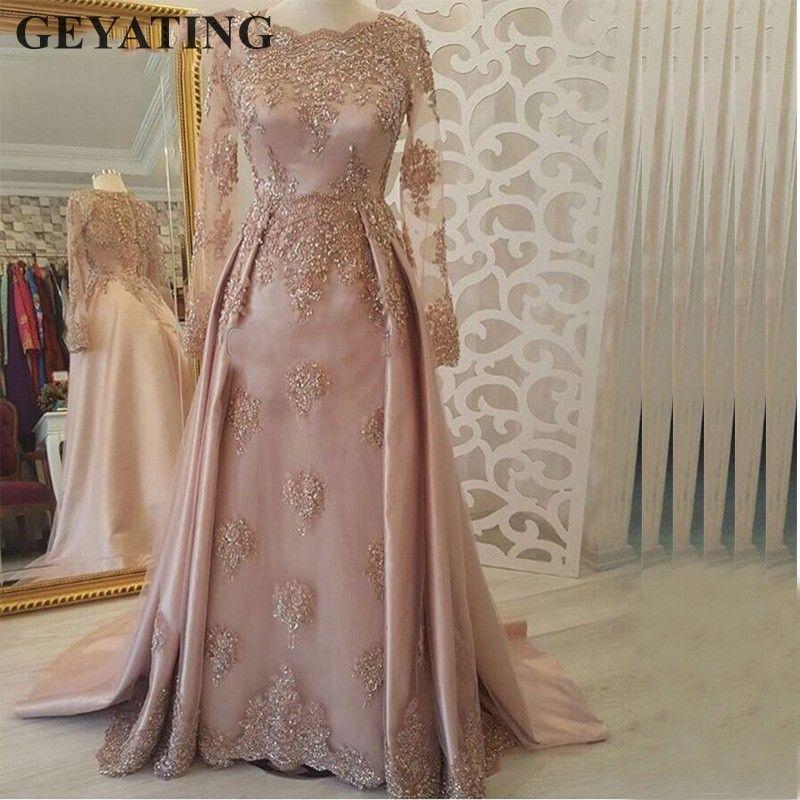 New Arrival Satin Long Evening Dress 2019 Dubai Kaftan Prom Dresses Abiye Abendkleider Arabic Evening Gowns Robe De Soiree Weddings & Events