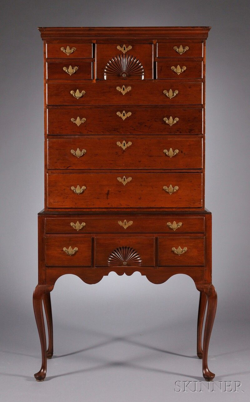 Windsor connecticut queen anne fan carved cherry high - Queen anne bedroom furniture cherry ...