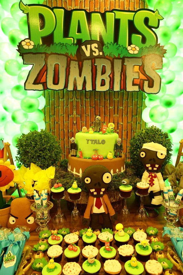 Festa infantil plants vs zombies para o ytalo en 2019 for Decoracion con globos plantas contra zombies