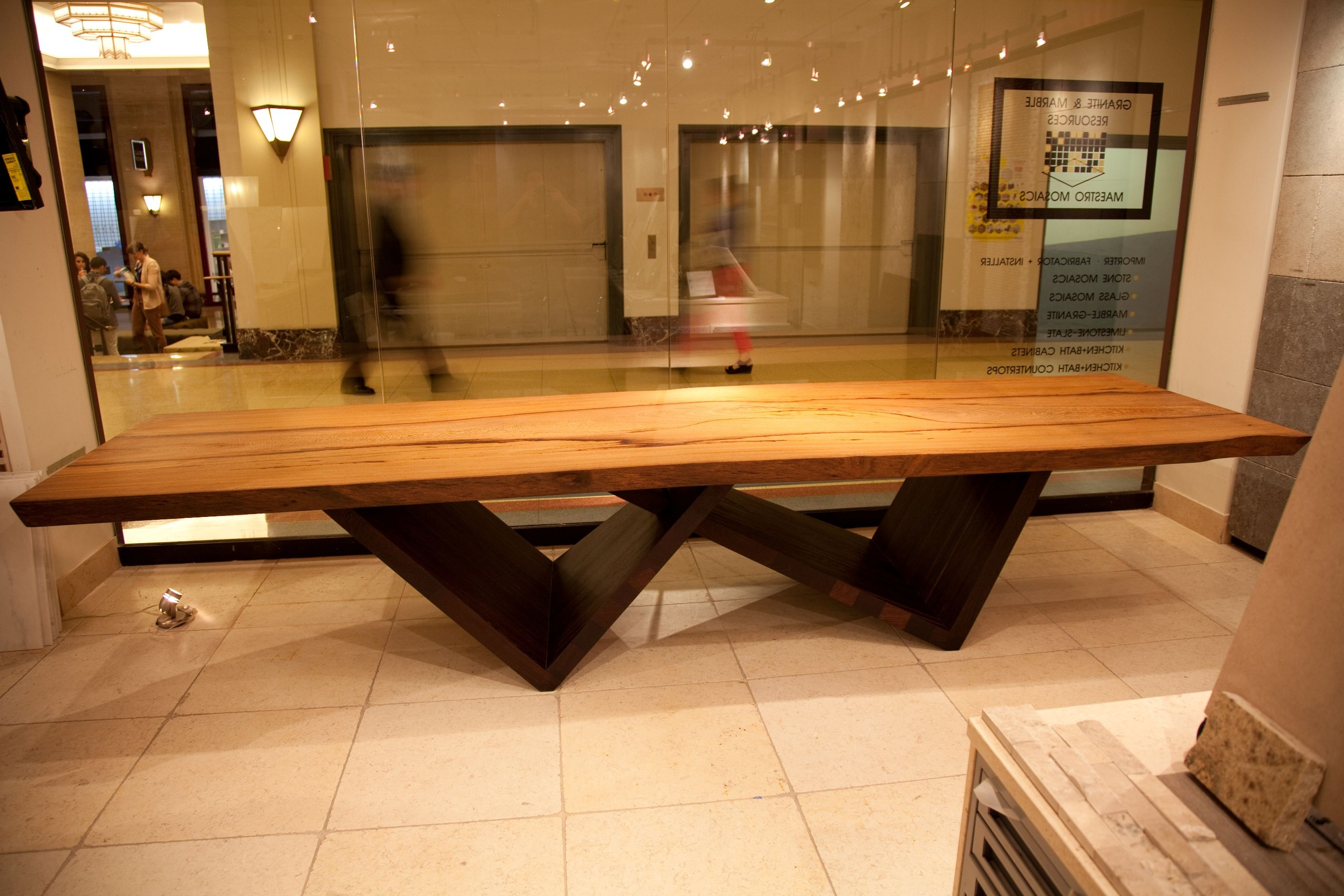 African Yaya Slab Table with Wenge Legs