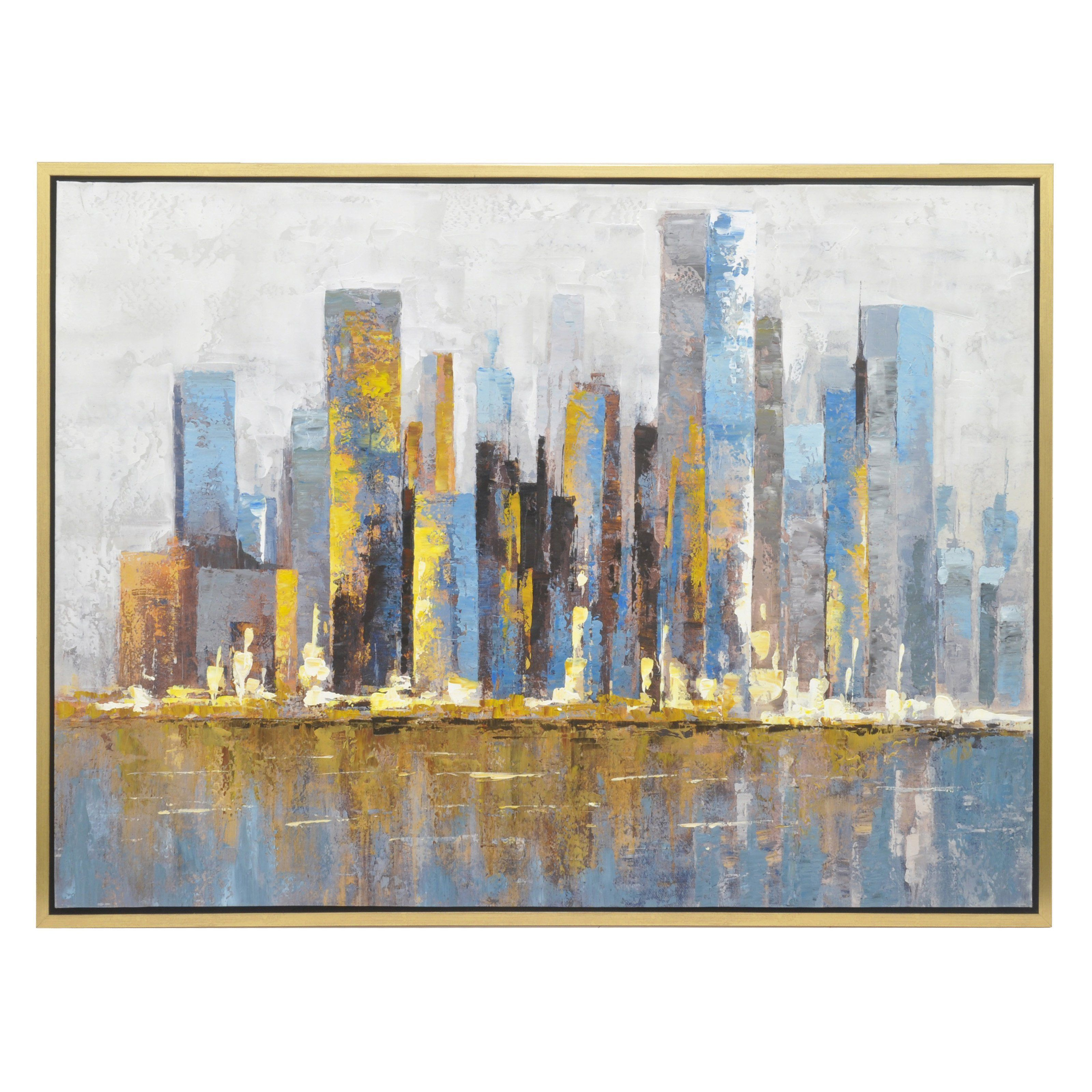 Three Hands Abstract Painting Wall Art - 47W x 35.4H in. - 50426