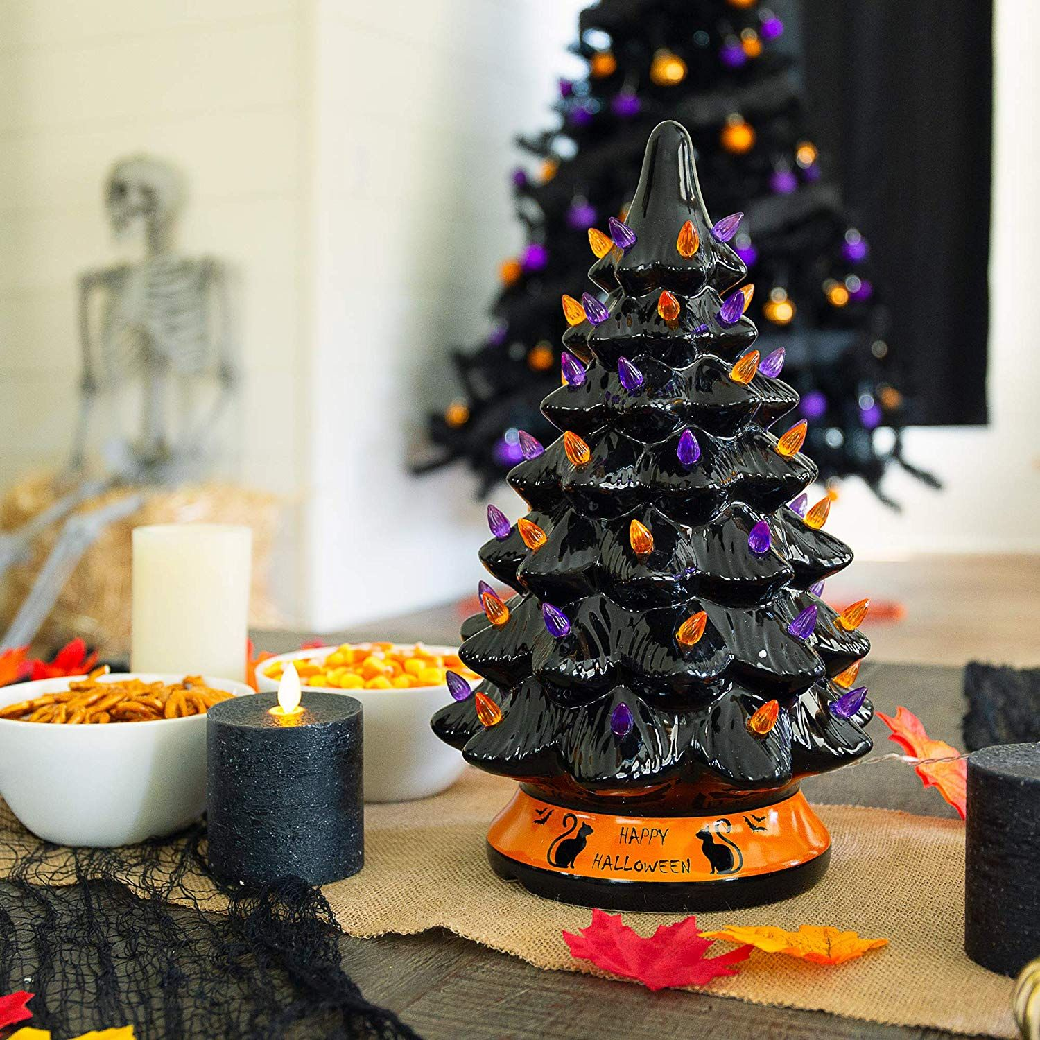 PreLit 15in Ceramic Tabletop Halloween Tree Holiday